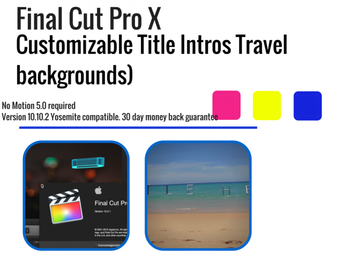 Final Cut Pro X Customizable Title Intros Travel backgrounds