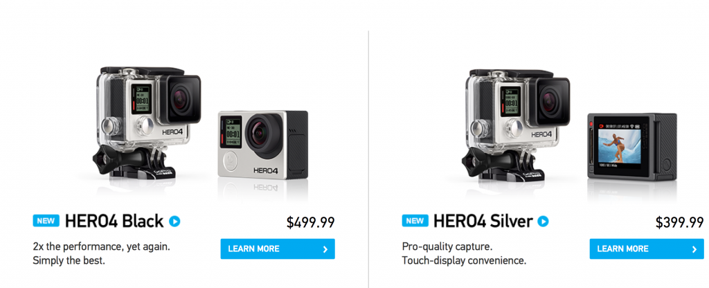 The gopro4 pricing and specs