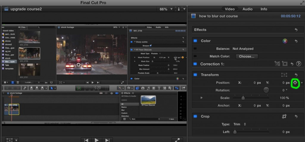 How to do a digital zoom in Final Cut Pro X