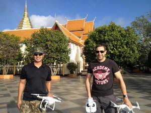 Greg Hung (left), aerial videographer