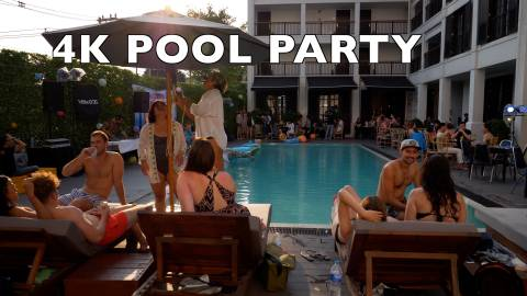 pool party stock footage