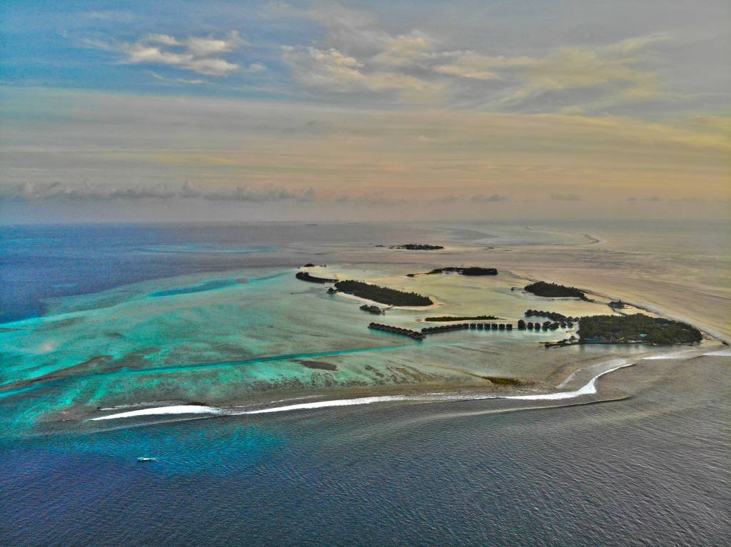 Maldives stock footage aerial luxury resort antara